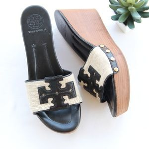 Tory Burch Patty Black Platform Slide Sandals 8.5